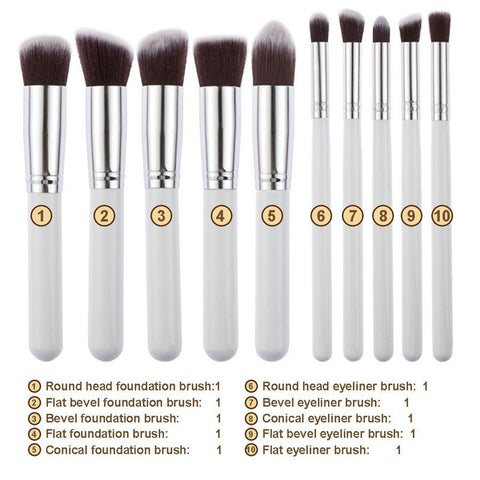 10 Piece White And Gold Kabuki Brush Set 10