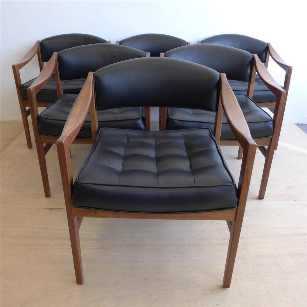 Edward Wormley Vinyl Walnut Dining Arm Chairs