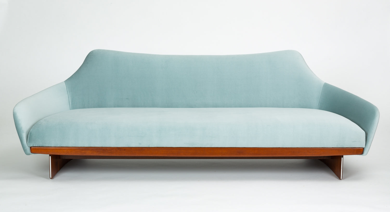 Outstanding American Made Gondola Sofa In Ice Blue Velvet With Walnut Details Pdpeps Interior Chair Design Pdpepsorg