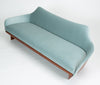 American-Made Gondola Sofa in Ice Blue Velvet with Walnut Details