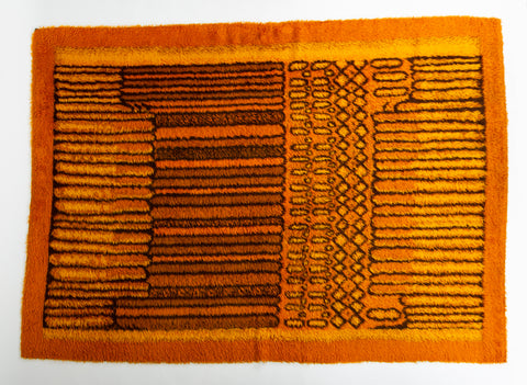 Orange Ege Rya with Progressive Line Pattern