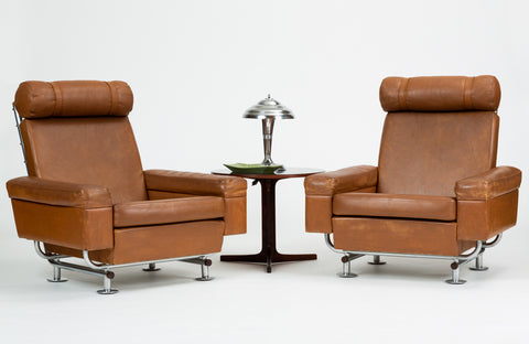 Pair of Illum Wikkelsø High-Backed Lounge Chairs for Ryesberg Møbler