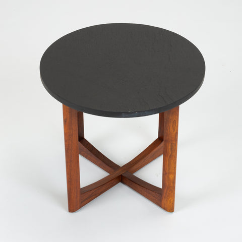 Pair of Round Side Tables with Slate Top
