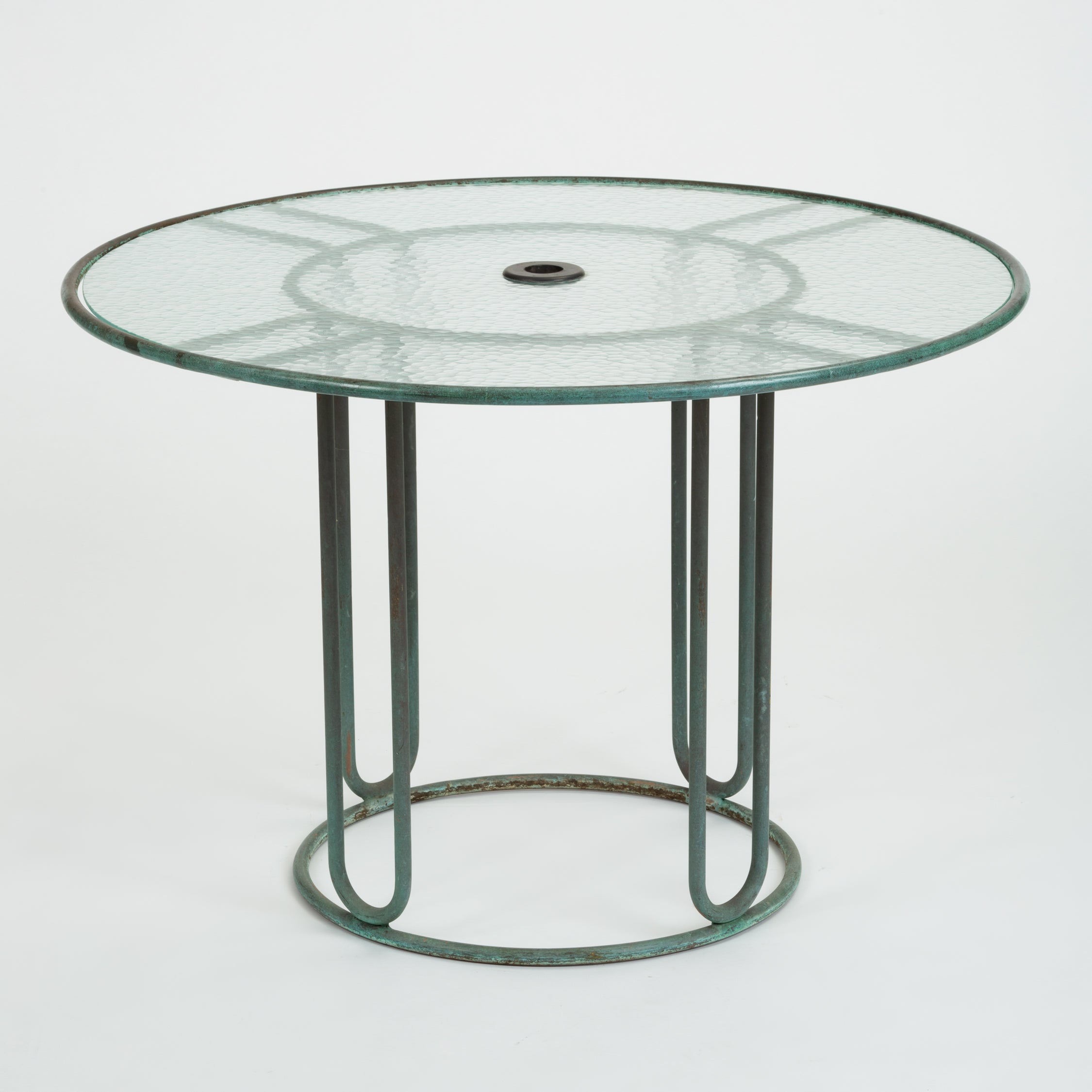 Round Bronze Patio Dining Table by Walter Lamb for Brown Jordan