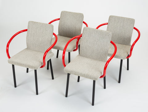 Set of Four Mandarin Chairs with Red Arms by Ettore Sottsass for Knoll