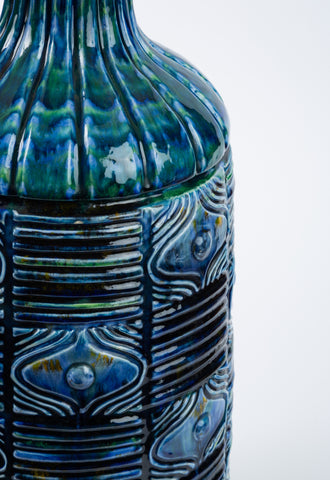 Blue Textured Ceramic Lamp with Brass Base