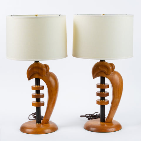 Pair of Heifetz-Style Sculpted Oak and Brass Lamps