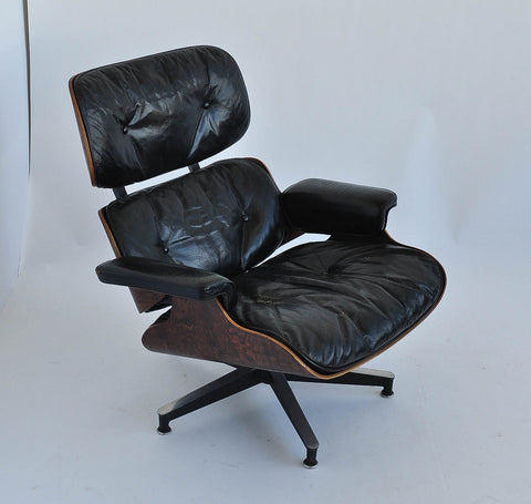 1st Gen. Ray and Charles Eames 670/671 Leather Lounge Chair with Ottoman