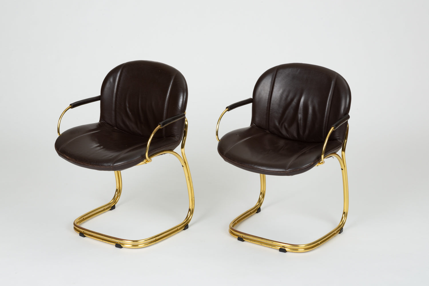 Pair of Cantilevered Arm Chairs by Gastone Rinaldi for Rima