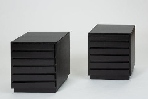 Pair of Ebonized Three-Drawer Nightstands by American of Martinsville