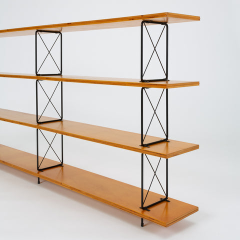 Modernist Mahogany Bookshelf with Black Wire Frame