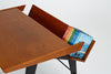 Oak Desk with Integrated Shelf and Ebonized Legs by Hartmut Lohmeyer