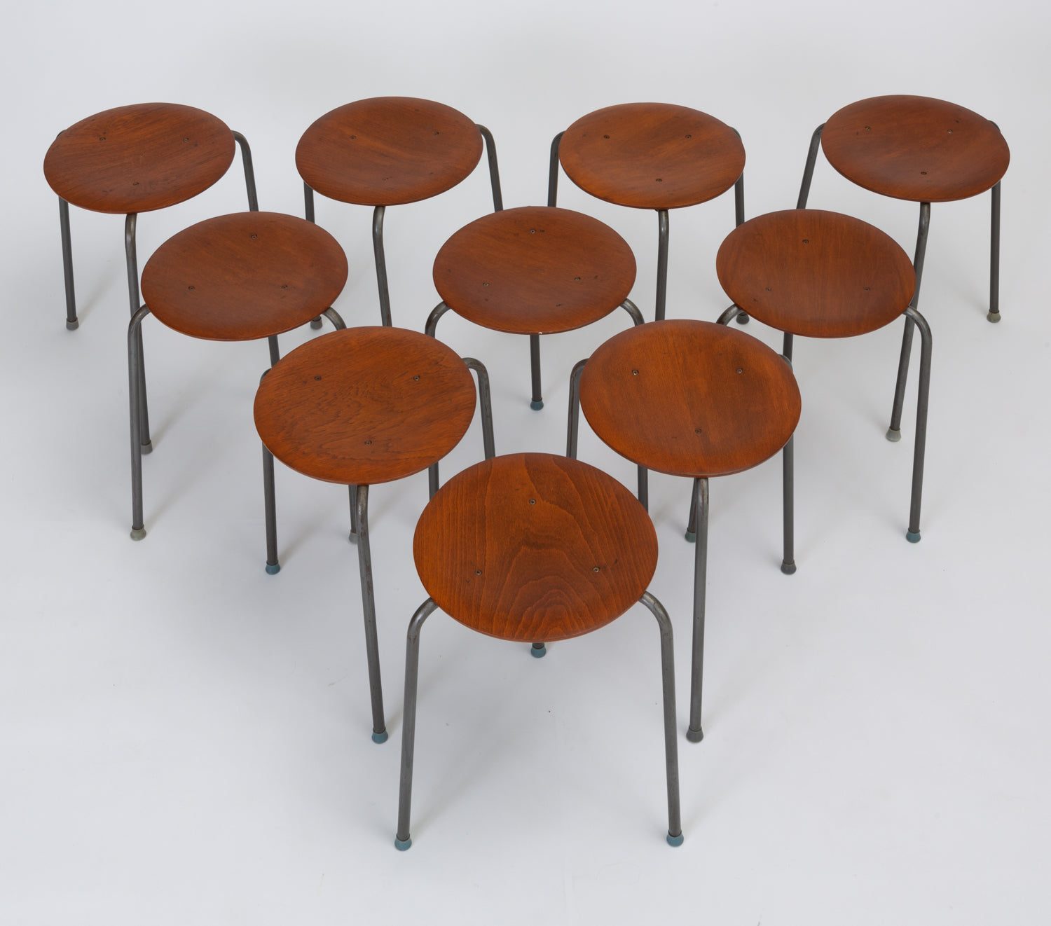 Set of Ten Danish Modern Stools with Wooden Seat