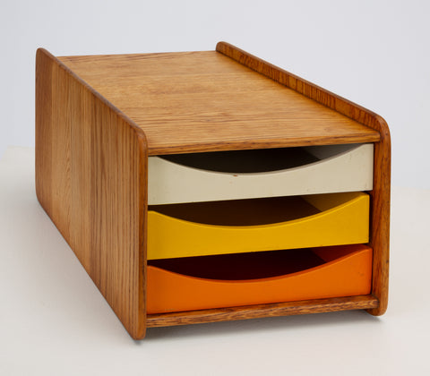 Oak Desk Organizer with Painted Drawers by Børge Mogensen for Karl Andersson
