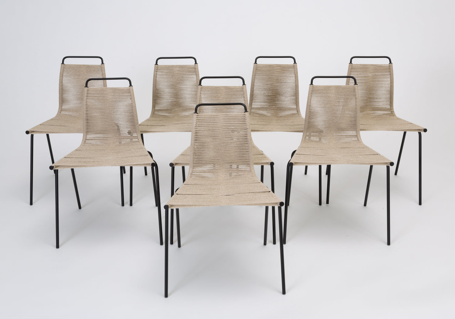 Set Of Eight PK 1 Dining Chairs By Poul Kjaerholm