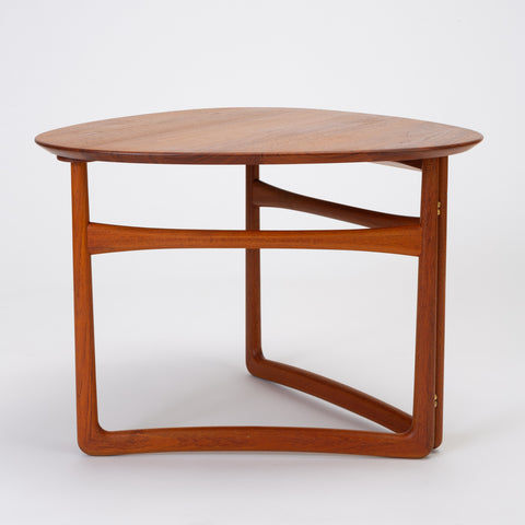 Trilateral Folding Side Table by Peter Hvidt and Orla Mølgaard-Nielsen