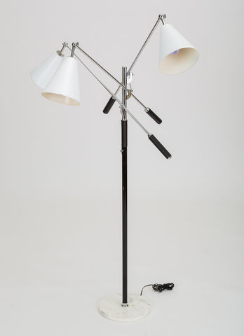 ON HOLD****Three-Arm Italian Modernist Floor Lamp with Marble Base
