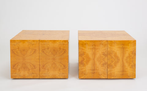 ON HOLD****Pair of Burl Wood Side Tables or Blanket Chests