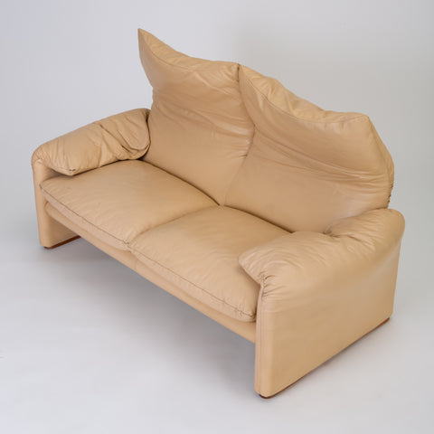 "Leather ""Maralunga"" Loveseat by Vico Magistretti for Cassina"