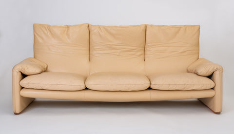 "ON HOLD****Leather ""Maralunga"" Sofa by Vico Magistretti for Cassina"