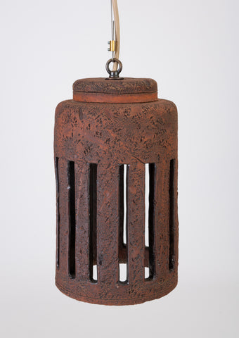 1960s California Studio Pottery Cylindrical Pendant Light Fixture with Crenellations