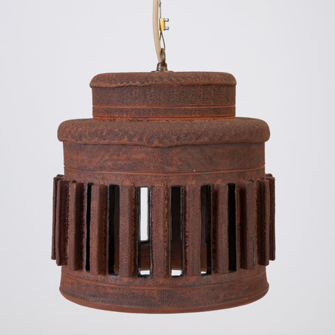 1960s California Studio Pottery Drum-Shaped Pendant Light Fixture with Raised Vents