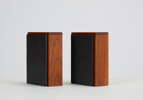 Pair of Scandinavian Modern Slate and Teak Bookends