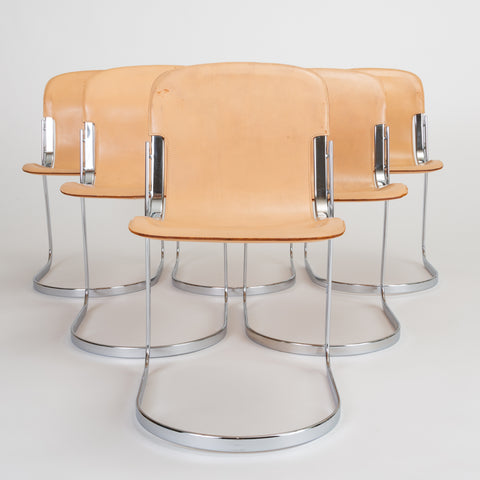 Set of Six Chrome and Leather Dining Chairs by Willy Rizzo for Cidue