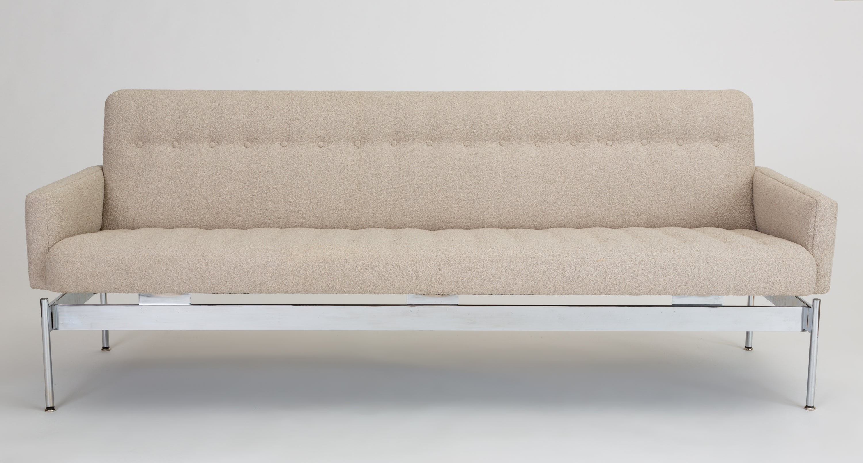 Magnificent Mid Century Modern Tufted Boucle Sofa With Chrome Base Spiritservingveterans Wood Chair Design Ideas Spiritservingveteransorg