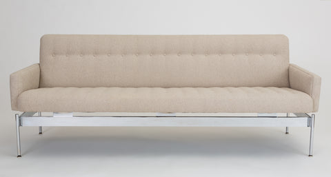 Mid Century Modern Tufted Bouclé Sofa with Chrome Base