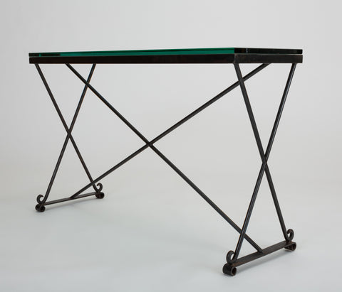 Mid Century American Wrought Iron Console Table