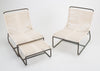 Pair of Walter Lamb Sleigh Chairs with Single Ottoman