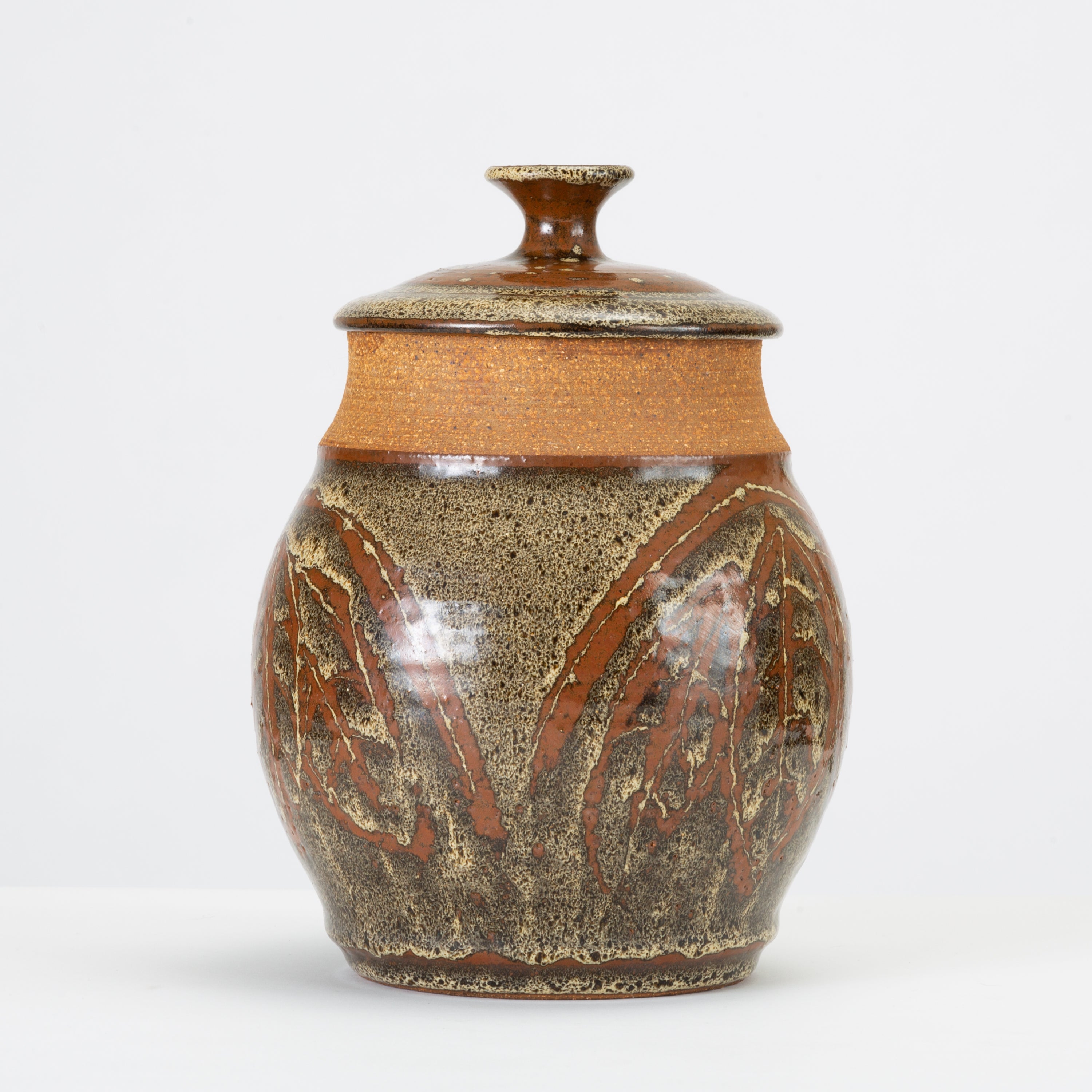 California Modern Studio Pottery Jar with Leaf Pattern by Don Jennings