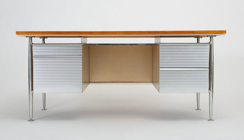 ON HOLD****Teak and Aluminum Industrial Executive Desk by Welton Becket