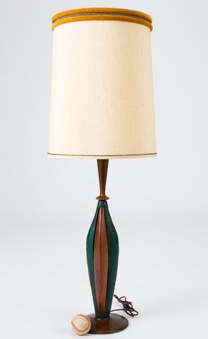 Pair of Tall Table Lamps in Walnut and Resin by Moderna
