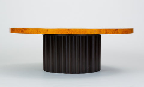 Custom 1970s Round Coffee Table in Lacquered Parchment with Pedestal Base