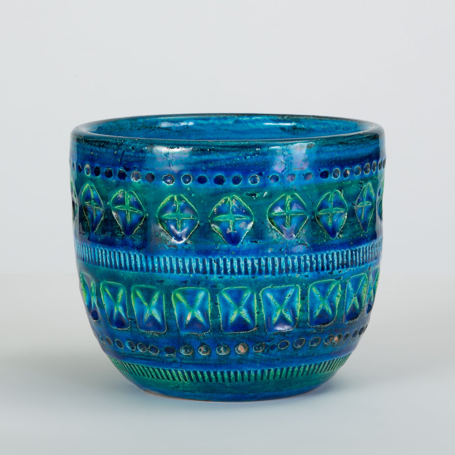 "Small ""Rimini Blu"" Bowl or Vase by Aldo Londi for Bitossi"