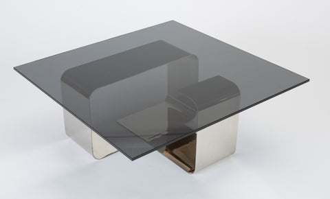 Polished Steel and Smoked Glass Coffee Table by François Monnet for Kappa