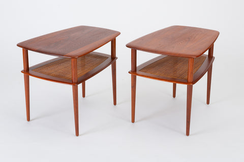 Pair of Teak Side Tables with Cane Shelf by Hvidt & Molgaard for France & Daverkosen