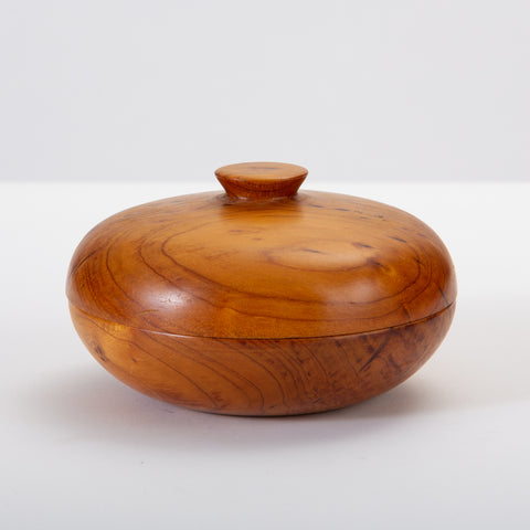 Decorative Turned Wood Bowl with Lid from New Zealand