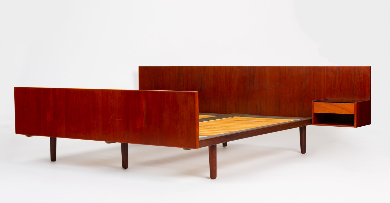 Queen-Size Teak Bed Frame with Floating Nightstands by Hans Wegner for Getama