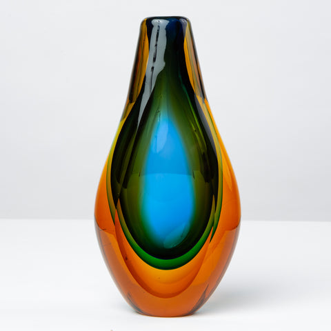 Murano Triple Sommerso Glass Vase