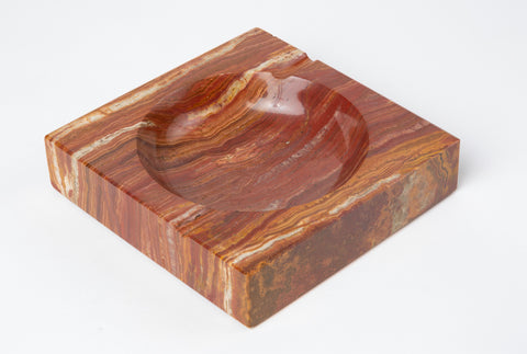 Vintage Square Ashtray in Red Onyx