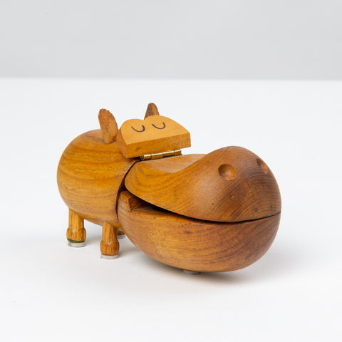 1950s Wooden Hippo Trinket Box by Zoo-Line