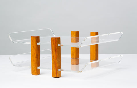 Modernist Lucite and Oak Paper Tray