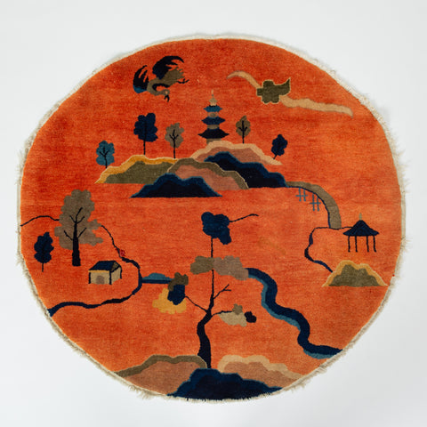 Early 20th Century Chinese Pao Tao Pictorial Rug