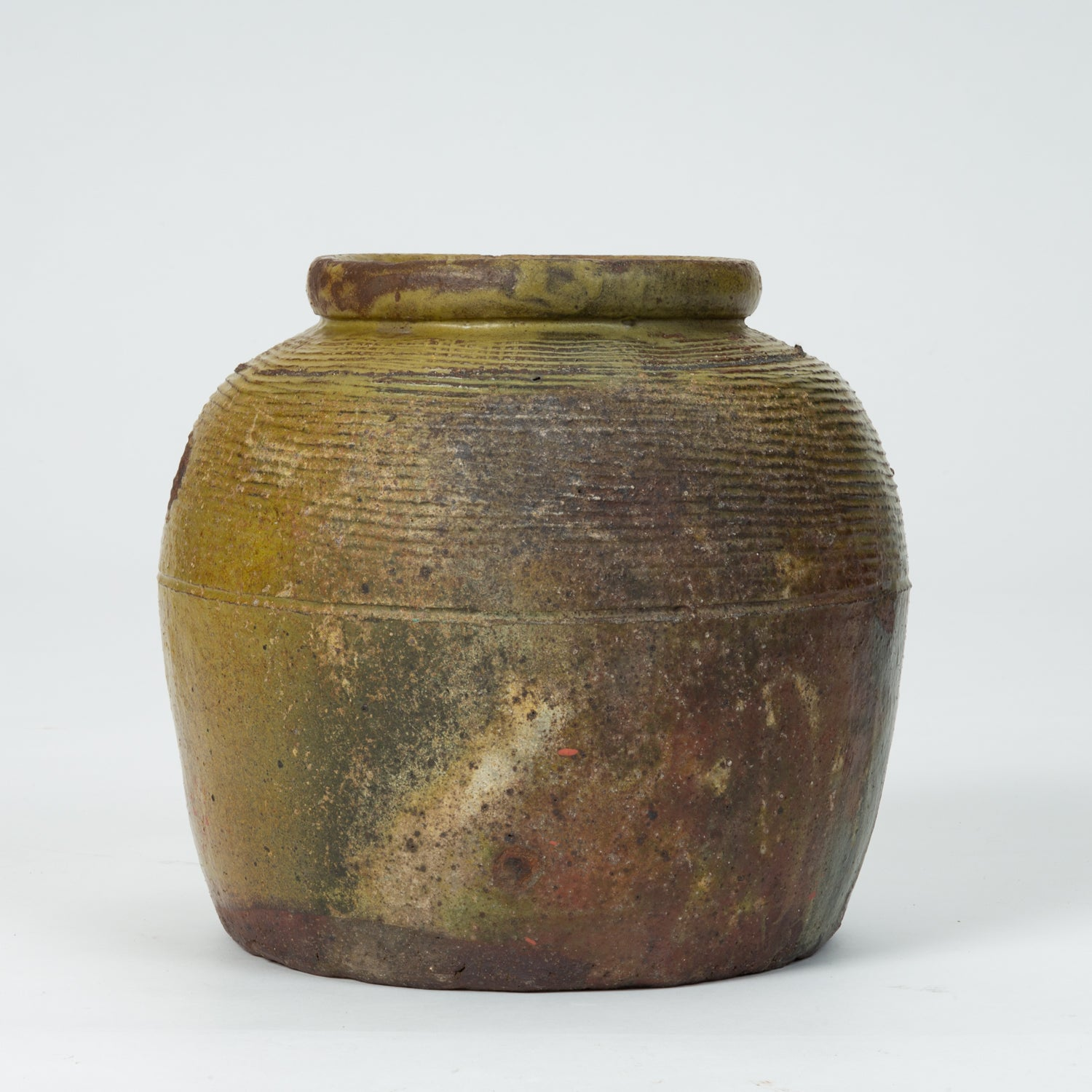 Hand-Thrown Garden Pot with Olive Green Glaze
