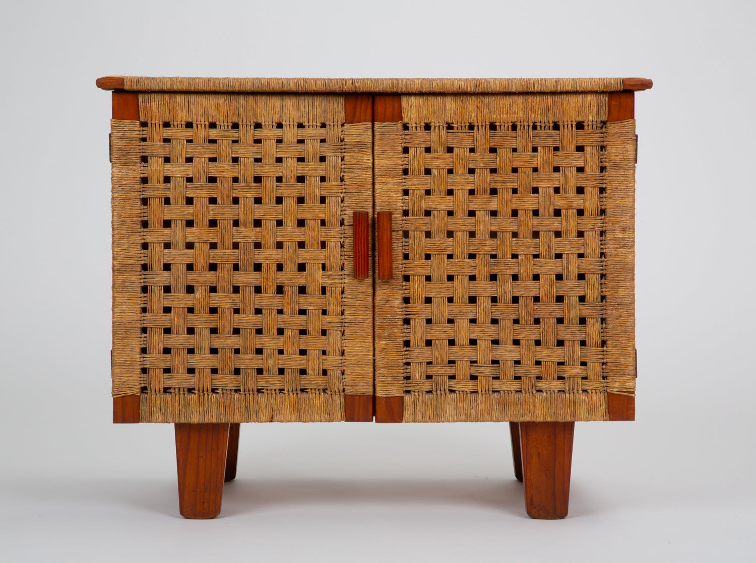 ON HOLD****Compact Woven Rattan Credenza by Michael van Beuren for Domus Mexico
