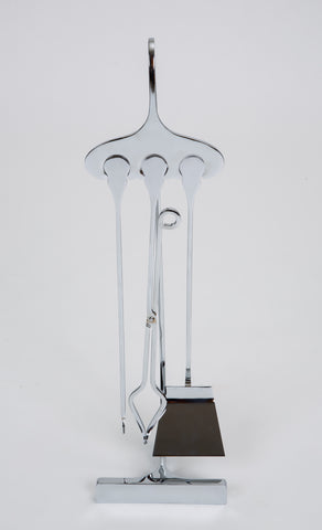 1960s French Modern Chrome-Plated Fireplace Tools with Stand