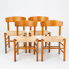 Set of Four J39 Oak Dining Chairs by Børge Mogensen for FDB Møbler